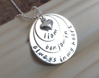 """Sterling Silver .925 Hand Stamped 3 Disc """"Always in my Heart"""" Necklace"""