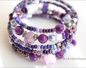 Purple Iris - pretty bohemian glass bracelet, gift for her, great for wedding party functions everyday - ShriKrishnaDesigns