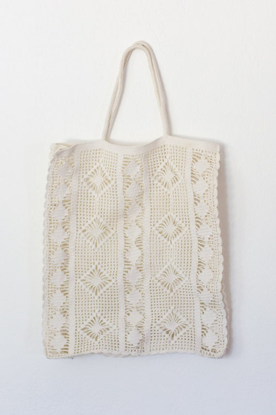 1970s COLETTE Tote Vintage Crochet White Book Bag by GoldBanana