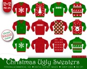 12 Ugly Christmas sweaters clipart, white red green, xmas sweaters, ugly sweaters party, xmas christmas digital, xmas, xmas party, printable