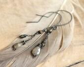 Long Labradorite Copper Earrings, Grey, Brown, Olive, Semi Precious Stone Earrings, Dangle Earrings