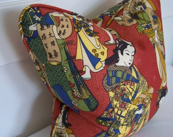 Decorative Pillows, Red Chinoiserie Designer Pillow Cover with Piping, 18x18, 20x20, and Lumbar sizes, Accent Pillow, Throw Pillow