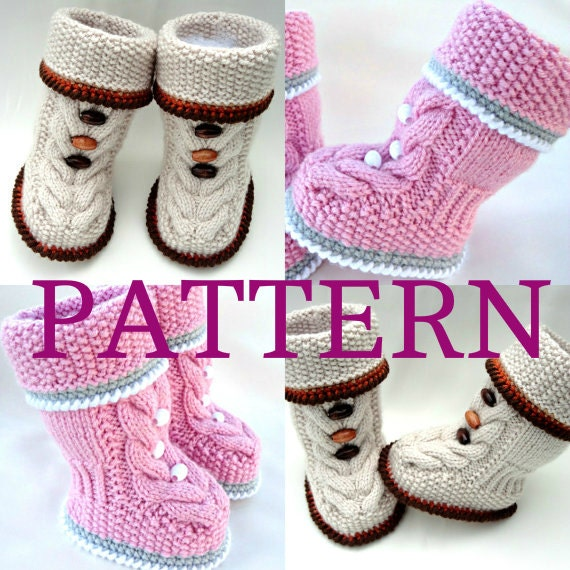 Baby Knitted Shoes Pattern : Knitting PATTERN Baby Booties Baby Shoes Infant Knitted Baby
