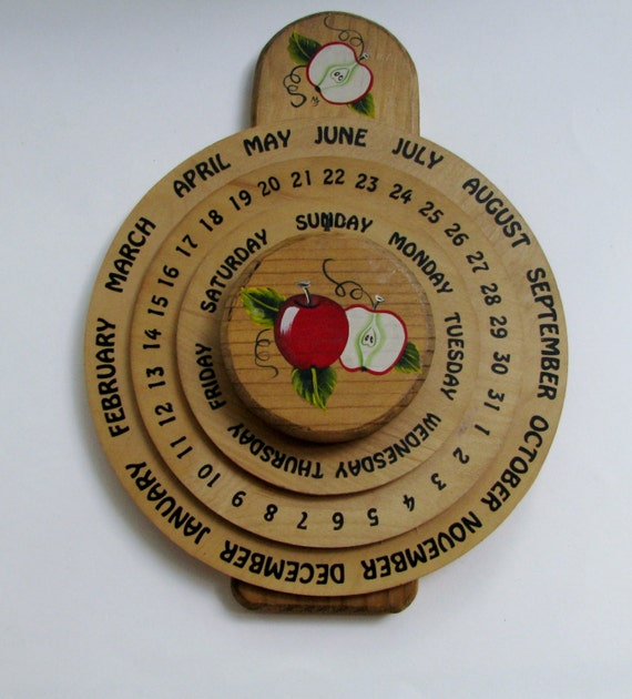 Items similar to wood wall perpetual calendar on etsy - Wooden perpetual wall calendar ...