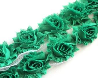 Petite Shabby Flower Trim--Emerald