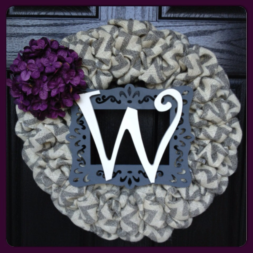 Chevron Burlap Wreath With Initial Frame And