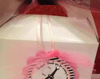 Paris favor tags ,Pink Paris Party tags ,12 ready to ship