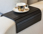 Sofa Tray Table black, Wooden TV tray, Small Coffee table, Lap desk for small spaces