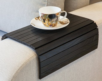 Sofa Tray Table BLACK, tray table, sofa arm table, unique gift idea, wood table, ottoman wooden trays, couch table, small spaces, wood table