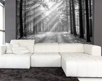 Green forest trees mural wallpaper reposition able peel for Black tree mural