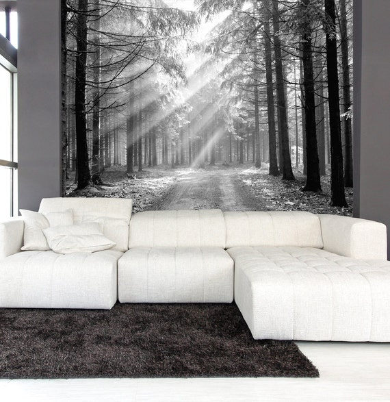 Mur murale noir et blanc de la for t de conif res t t le for Black n white bedroom