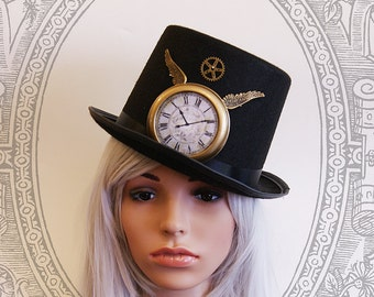 Steampunk  Tophat (Goth, topper, steampunk, black, clock, hat, gear )