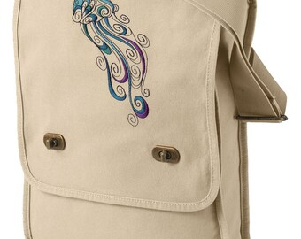 Doodle Jellyfish Embroidered Canvas Field Bag