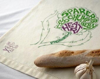 Purple Heart Hand Lettered Tea Towel with Artichoke Print  - Butcher Chart, Vegetarian Gift, Vegan Gift, Gourmet Kitchen, Home Decor, Tapas