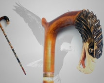 HAWK VINTAGE STYLE walking stick hiking cane hand carved of solid wood handmade wood wooden top art ethnic folk eagle, greate gift