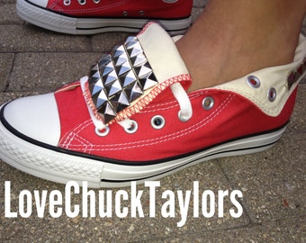 Red Studded Converse Shoes