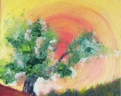 Tree in Sunny Day, Nature Oil Painting Original Hand Crafted Unique, yellow-orange-green, Impasto Style, Stretching canvas, Ready to Hang - Lishna