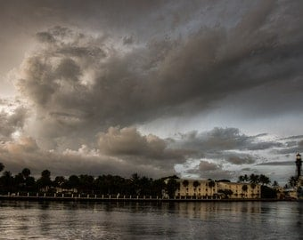 Port in a Storm - Fine Art Landscape Photography Print. Storm Clouds Roil over a lighthouse on the South Florida Coast