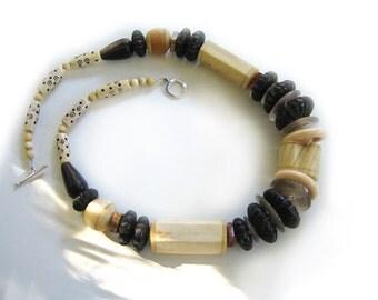 Australia Dreamtime: Bone and quartz necklace and earring set