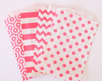 Party/Wedding Favor Bags - Paper Treat Bags - Candy Buffet Bags - Pink
