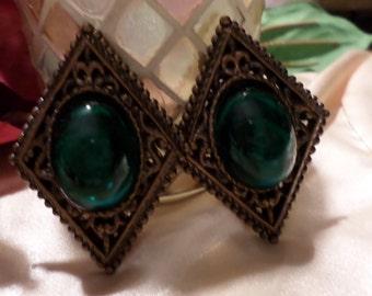 Baroque Green Earrings