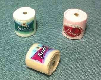 3 Rolls Toilet Papers Paper Roll Scott Miniature Bathroom Toilets Decoration Decor Display Supplies Cute Tiny Small Dollhouse Jewelry Beads