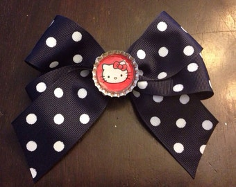 Navy Blue & White Polka Dot Bow with Hello Kitty Bottle Cap