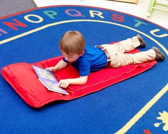 Personalized Monogrammed Preschool Toddler Red Nap Mat Cover