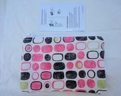 Pink, White, Black, and Chartreuse Small Zippered Pouch