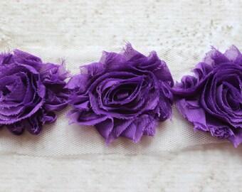 1/2 Yard Shabby Chiffon Flower Trim in Grape Purple - Flower Trim for Headbands and DIY supplies