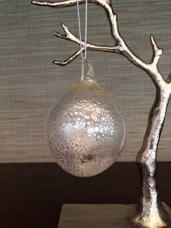 Hand blown glass silver leaf christmas tree by
