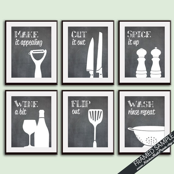Funny kitchen art print set whisk grater mixer rolling for Kitchen art pictures