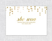 Firestone Gold Confetti Pregnancy Announcement (She Won, Humorous Announcement, Gold Ombre, 5x7, digital file)