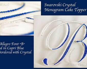 Crystal Covered & Bordered Single Monogram Cake Topper