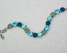 Caribbean Cruise - Pacific Opal, Light Turquoise, Caribbean Blue Opal, & Aqua AB Swarovski Crystal Chain Bracelet - Beautiful 8mm Crystals