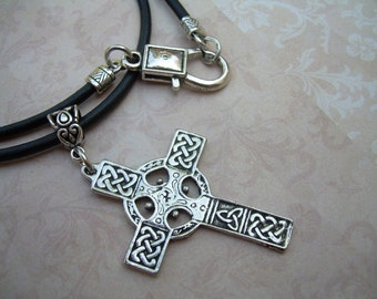 Cross Necklace, Leather Cross Necklace, Cross, Celtic Cross, Pendant , Mens Necklace, Mens Jewelry, Mens Gift, Pendant, Celtic Pendant,