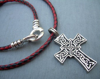 Celtic  Cross Necklace, Leather Necklace, Mens Cross Necklace, Mens Jewelry, Leather Necklace, Mens Gift, Fathers Day, Cross Jewelry,