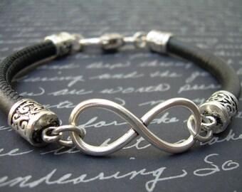 Infinity Bracelet, Leather  Bracelet, Stitched Nappa Leather, Womens Bracelet, Womens Jewelry, Infinity, Womens Leather Bracelet