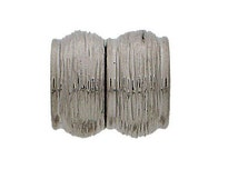 Magnetic Clasp in Gold or Silver Striated Finish for 10mm Strand or Leather, 13x14mm, Inside Diameter 10mm