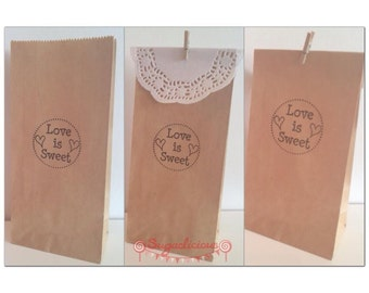 50 x WHITE Hand Stamped 'Love is Sweet' Lolly Bags, Candy Bags, Favour bags, Wedding & Engagement