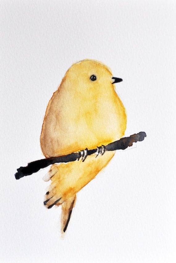 Yellow Bird Illustration ORIGINAL Watercolor by ArtCornerShop