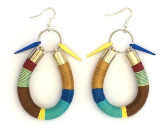 Statement Earrings, Rope Statement Earrings, Tribal Earrings, Color Block Earrings, Nautical Earrings
