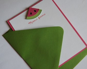 Set of 8 Custome Personlized Watermelon Stationary Cards