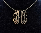 Handmade Monogram Necklace 1.5 inch Sterling Silver 925-14K Gold Plated (Made in USA)