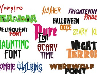 Special Buy 13 Super Spooky Halloween Machine Embroidery Font Sets for the Crazy Low Price of 4.99 in PES
