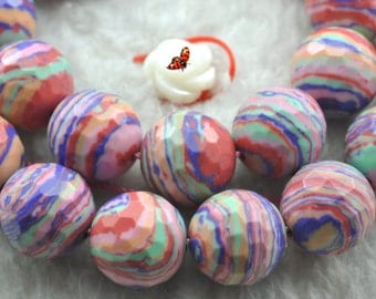Red Malachite faceted round beads 10mm,37 pcs
