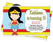 Wonder Woman Superhero Inspired Girl Birthday Party Invitation 5x7 Customized Digital Invite Hight Resolution JPG File 300 Res(1)