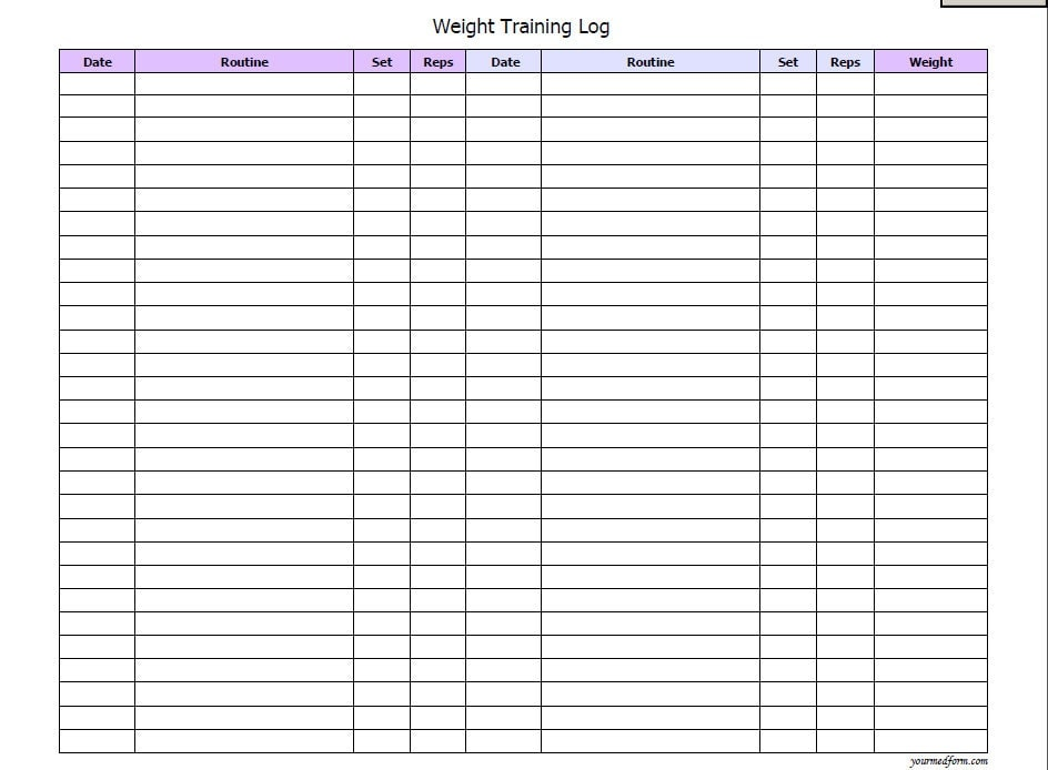 Weight Training Log / Fitness/ Printable / Instant Download
