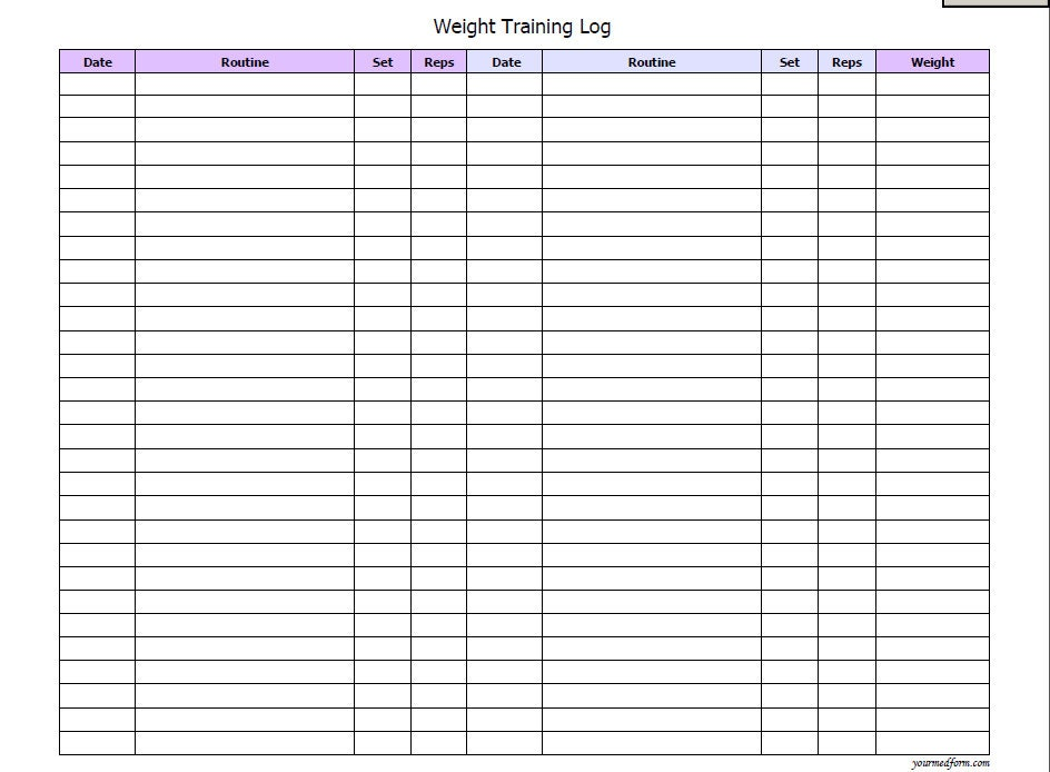 Weight training log fitness printable instant download for Weight training log template