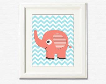 Coral and aqua elephant nursery Art Print - 8x10 - Children art, baby girl wall decor, blue,chevron, elephant - UNFRAMED